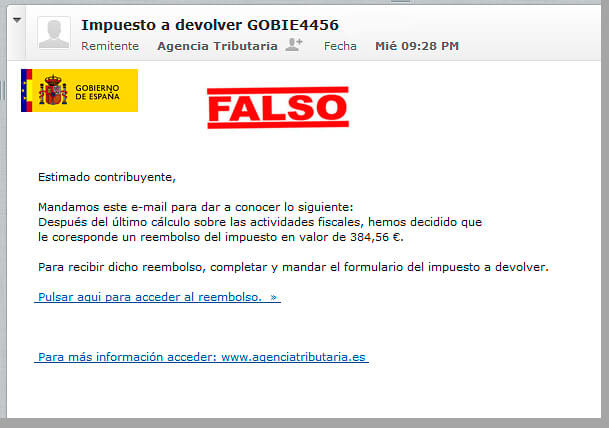email falso aeat
